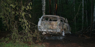 Two children and one woman found dead in burned car