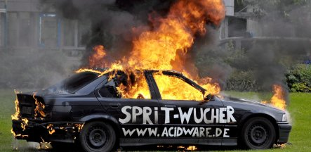 Unemployed German sets car alight as petrol protest