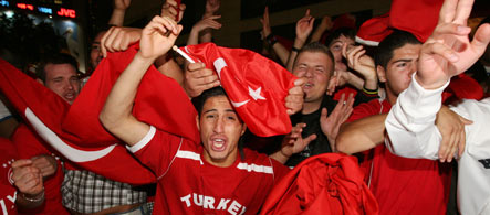 Turkish-Germans celebrate football victory in the streets