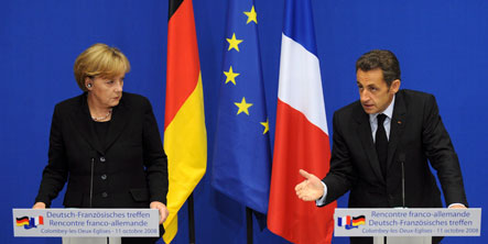Merkel and Sarkozy vow joint front against financial crisis