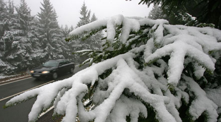 First snow snarls southern traffic