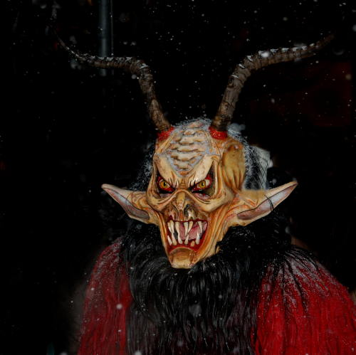 With a stick and metal chains, the Krampus are out to do St. Nick's dirty work: terrifying naughty children.Photo: by-sassi / PIXELIO