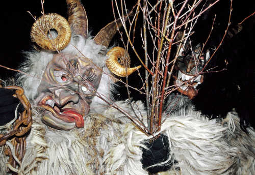 Though costumes vary, the Krampus usually have long horns, cloven hoofs, and long hair.Photo: DPA
