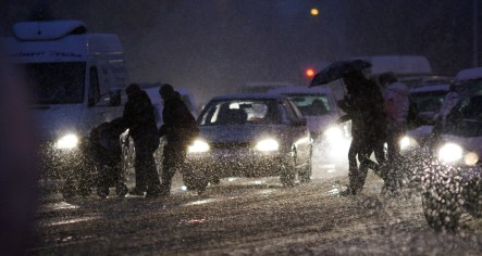 Snow and ice cause traffic chaos