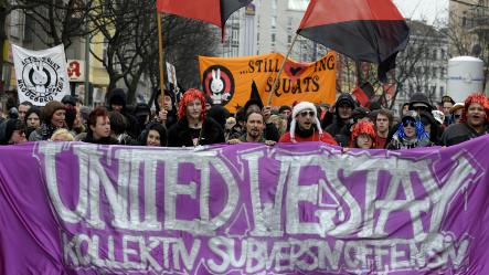 Squatters and leftists protest against Berlin gentrification