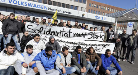 VW worker collapses on hunger strike for more hours