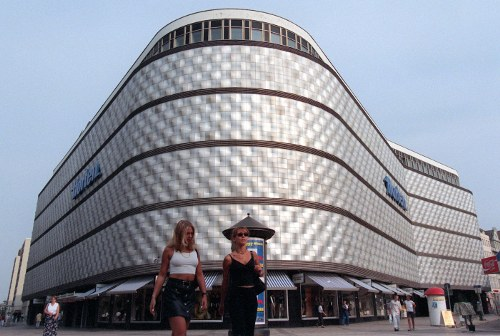 A view of the <i>Konsument</i> shopping centre in Leipzig features a honeycombed facade typical of east-German architecture. It was the largest shopping centre in the GDR and remains under protection as a state heritage site.  Photo: DPA