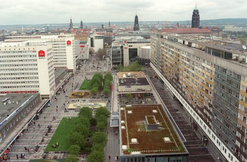 Prager Straße in Dresden features many <i>Plattenbau</i> from the 1960s and 1970s. Today, it still serves as a shopping street. Photo: DPA