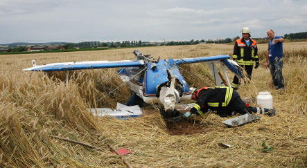 Looping plane collides with family in car