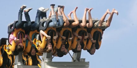 Fairground ride traps riders upside-down for 45 minutes