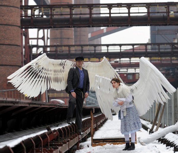 """During a photo rehearsal for Ruhr.2010 event """"Angels over Zollverein"""" in Essen. Photo: DPA"""