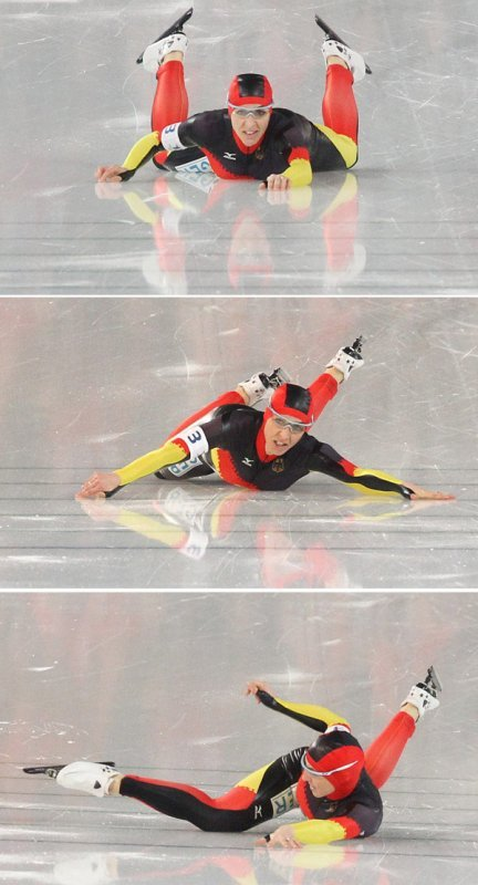 Friesinger-Postma had to kick her way over the finish line.Photo: DPA