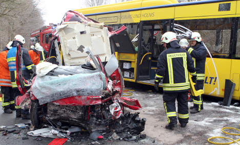 One dead after head-on collision with public bus