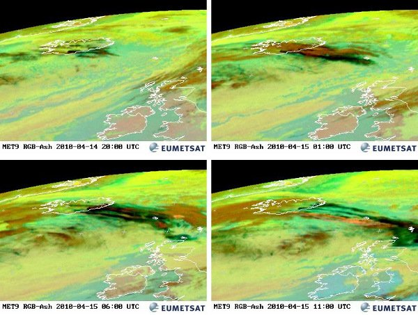 Satellite photos of the ash cloud's movement over Iceland and Europe from Wednesday and Thursday. Photo: DPA