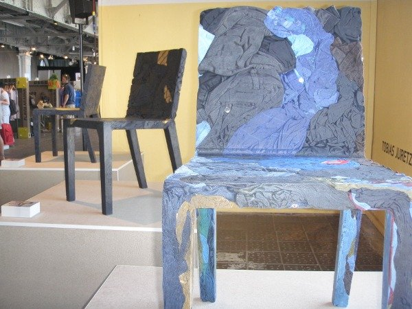 Designer chairs, made entirely from jeans and t-shirts.Photo: Emma Duester