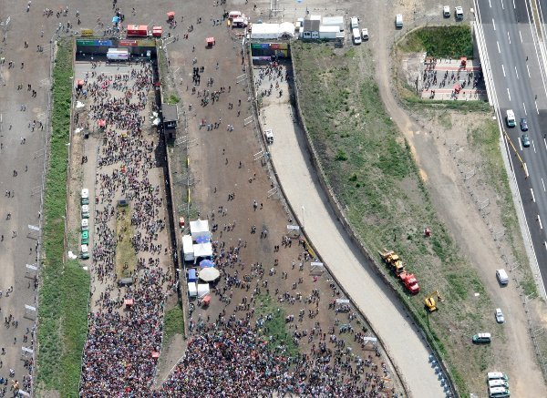An aerial photo of the festival's main party location, with the deadly tunnel in the top right. The narrow tunnel was one of the only ways for guests to enter.Photo: DPA