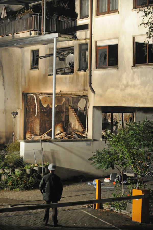 The burnt out house near the hospital where the rampage started.Photo: DPA
