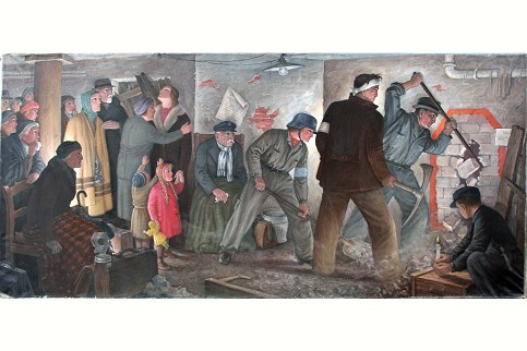 """A painting by Adolf Wegener from 1944 entitled <i>Nach dem Luftangriff</i> (""""After the Air Raid""""). It shows a test of the <i>Volksgemeinschaft</i> in wartime, without showing how the war was generated by Hitler's Germany.  Photo: Ingrid Meier, Militärhistorisches Museum der Bundeswehr, Dresden/Deutsches Historisches Museum"""