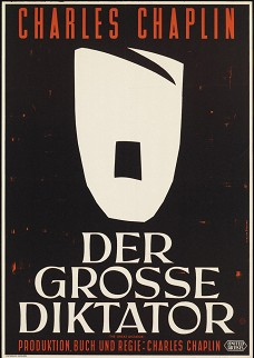"""Poster for the Charlie Chaplin film """"The Great Dictator,"""" released in October 1940. The film heavily satirized the personality of Hitler and the Nazi ideology, and was responsible for generating concern among American audiences towards the Nazi regime at a time when America was still formally at peace with Germany. Photo: Haus der Geschichte der Bundesrepublik Deutschland/Deutsches Historisches Museum"""