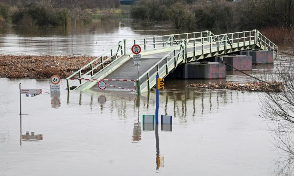 A submerged bridge in Leverkusen. Communities along the Rhine and Mosel faced the worst flooding.Photo: DPA