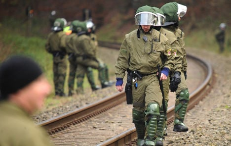 First clashes as atomic waste train rolls onward