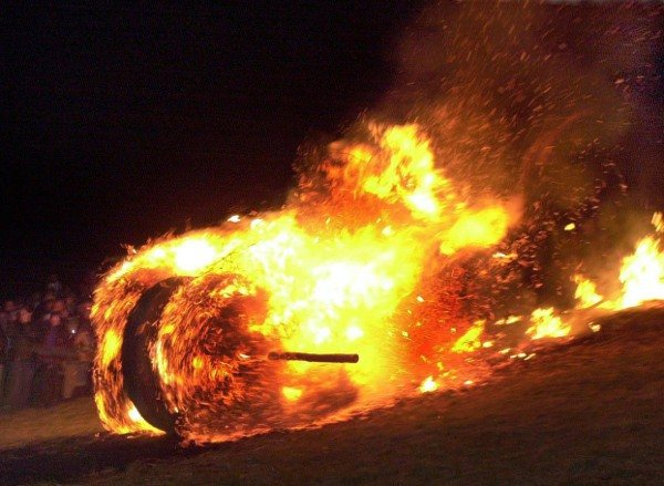 Fire rolling <br>At Easter time, you can welcome back the sun German style by rolling a burning bale of hay down a hill. Dating from pre-Christian times, the fire wheel was a symbol of the return of summer. But now it's done on other holidays as well.Photo: DPA