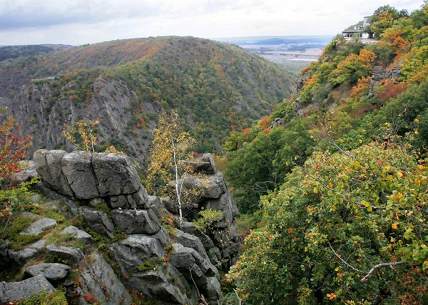 Rosstrappe: The story of Princess Brunhilde <br>The Rosstrappe is a craggy hill in the Harz mountain range, central Germany. Those who make it to the very top can see a hoof print in the rock on cliff edge and legend has it that this is where princess Brunhilde escaped from a giant, Bodo, who wanted to marry her. He chased her to the cliff edge, where her white stallion jumped across and reached the other side, while Bodo jumped after her and plunged to his death. The hoof print in the rock is tPhoto: DPA