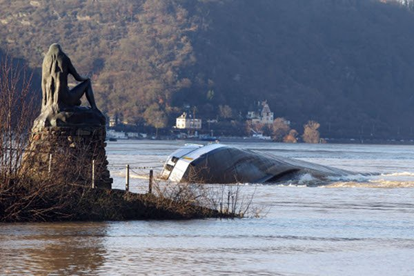The Loreley<br>Sailors beware: There once was a beautiful young woman named Lorelei who threw herself into the Rhine and drowned after her heart was broken. She was transformed into a siren whose sad, haunting singing lures drooling sailors to come crashing onto the rocks. A statue of the vengeful Lorelei watches over the treacherous stretch of water near Sankt Goarshausen. Photo: DPA