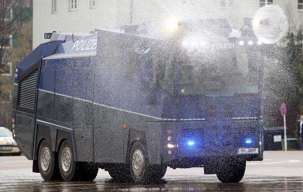 But this year police may use their new water cannon monster truck, the WaWe 10, first used in Hamburg.Photo: DPA