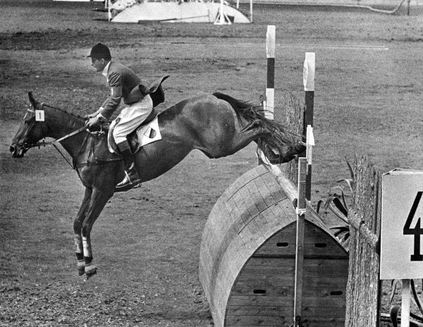 """Hans Günter Winkler on Halla<br>The Germans have often dominated the Olympic equestrian events, but few have emulated the great show-jumper Hans Günter Winkler, whose faultless 1956 ride on """"Halla"""" in Stockholm is still spoken of in hushed tones by horsey Germans everywhere. He ended up collecting five golds between 1956 and 1972.Photo: DPA"""