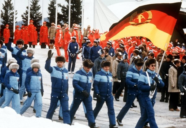 Enhancing the East German performance<br>While West Germany dealt with the fallout from this tragedy, communist East Germany had several Olympic scandals of its own. In 2010 luge gold medallist and GDR Olympic Committee member Thomas Köhler released an autobiography in which he detailed East Germany's systematic doping of athletes - including children. The picture shows the GDR team at the 1980 Winter Olympics in Lake Placid, USA. Photo: DPA