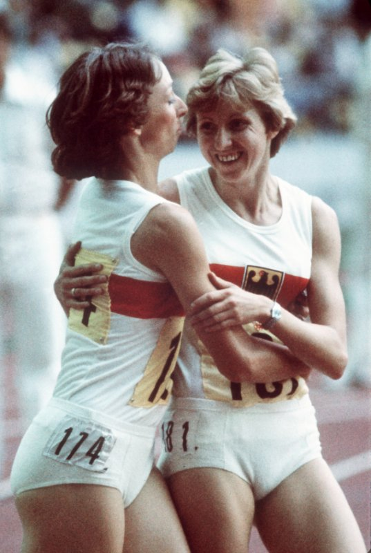 Annegret Richter <br>But the forces of capitalism were not to be outdone. West German sprinter Annegret Richter swept to the 100 metre gold medal in Montreal, coming in five 100ths of a second ahead of the GDR's Renate Stecher. West German Inge Helten, pictured left, who could not repeat the world record she'd set only weeks earlier, completed the German one-two-three in the event.Photo: DPA