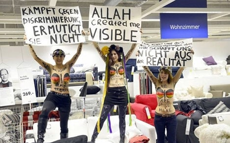 Women stage topless protest in Ikea