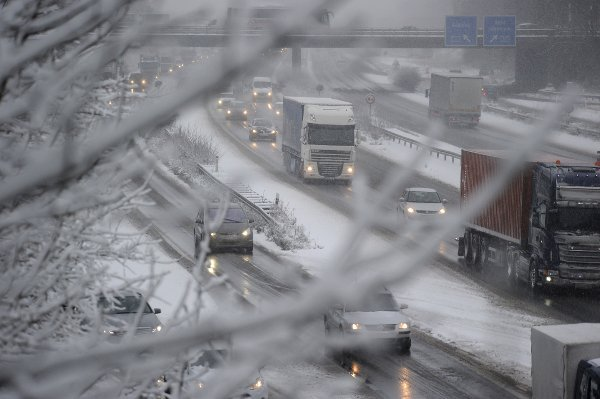 Elsewhere, traffic has been seriously affected by the weather conditions. These cars on a motorway near Cologne aren't going anywhere in a hurryPhoto: DPA