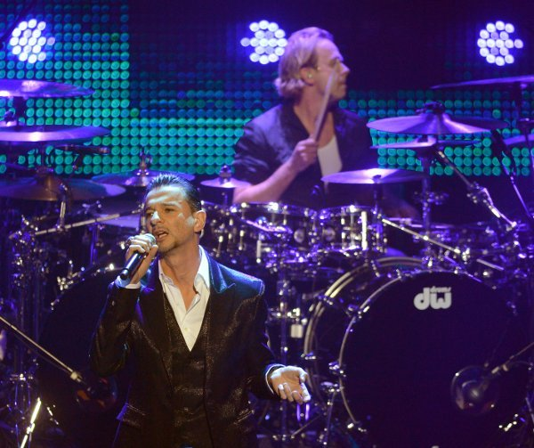 Dave Gahan of Depeche Mode in action