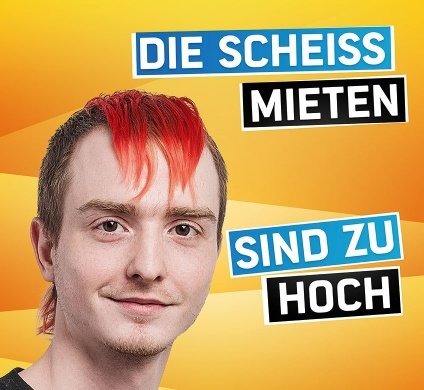 """It sparked controversial election posters<br>The internet-freedom Pirate Party courted some controversy with one of their election posters, which bore the slogan """"Die scheiss Mieten sind zu hoch"""" - 'The shitty rent is too high'. Photo: Piratenpartei"""