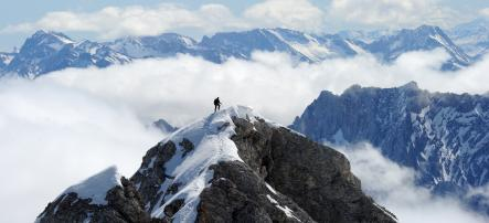 The infamous Bavarian <i>Zugspitze</i> mountain, where a 24-year-old Chinese woman fell 500 metres to her death on Sunday night.Photo: DPA