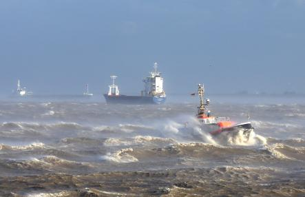 """The pilot boat """"Captain Jürs"""" sails the stormy waters of the Elbe river, near Brunsbüttel in Schleswig-Holstein.Photo: DPA"""