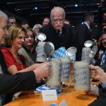 """The top brass of the Bavarian CSU call """"Prost"""" on a traditional litre-mug of beer at this year's rally. From left to right they are party leader Horst Seehofer, his wife Karin, Eva Gauweiler, her husband Peter Gauweiler, and former party chairman Edmund Stoiber.Photo: DPA"""