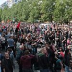 The largest part of the anti-fascist gathering, on Heinrich Heine strasse. Another large contingent assembled on the other side of the Jannowitzbrücke.Photo: J. Arthur White