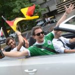 Fans in Stuttgart celebrate the win with a parade through the city centre.Photo: DPA