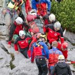 Rescue workers carefully carry the stretcher bearing Westhauser from the cave to the rescue helicopter.Photo: DPA