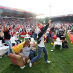 In the Berlin's Alte Försterei stadium, home to FC Union, thousands turned up to watch the game on screens, many bringing their living rooms with them.Photo: DPA