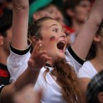 A fan celebrates one of Germany's four goals at the Copace-Arena stadium in Mainz, Rhineland-Palatinate, where the game was shown on giant screens.Photo: DPA