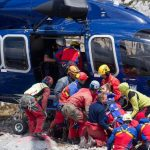 Westhauser is lifted aboard the police rescue helicopter which will take him off the mountain after 12 days trapped under it.Photo: DPA