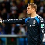 True to form, German national goalkeeper Manuel Neuer (pictured here walking across the tables) was not always where he was supposed to be, though there were no penalties issued as a result. Photo: DPA