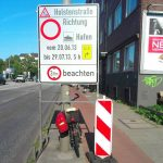 Authorities plonked this temporary road works warning right in the middle of the path.Photo: thingsonbikelanes/tumblr