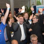 Supporters of the AfD party react as the party makes gains in Thuringia.Photo: DPA