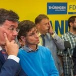 FDP supporters react to election results in Thuringia. The party captured a dismal 2.5 percent of the vote there and 1.5 percent of the vote in Brandenburg.Photo: DPA