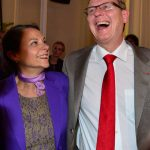 Bodo Ramelow, top candidate of the Linke party, celebrates with his wife at an election party in Thuringia.Photo: DPA